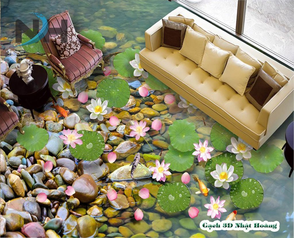 Gạch 5D lát nền phòng khách mẫu hồ cá