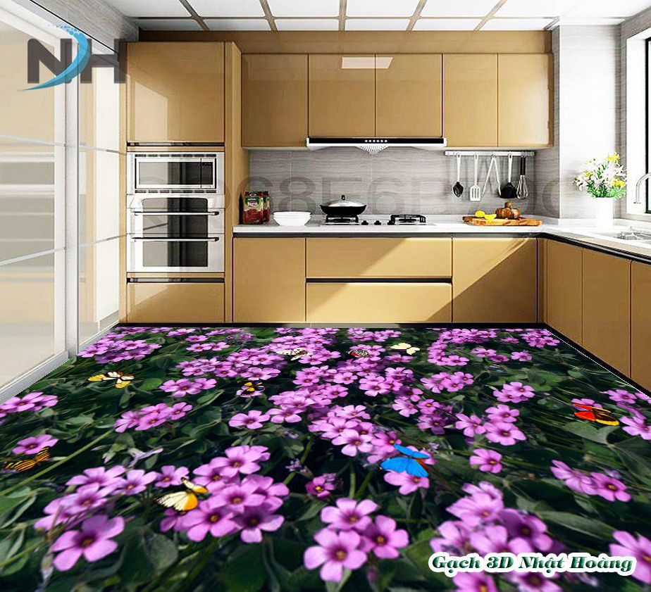 Cách chọn gạch 3D lát nền phòng bếp đẹp sang, hút tài lộc