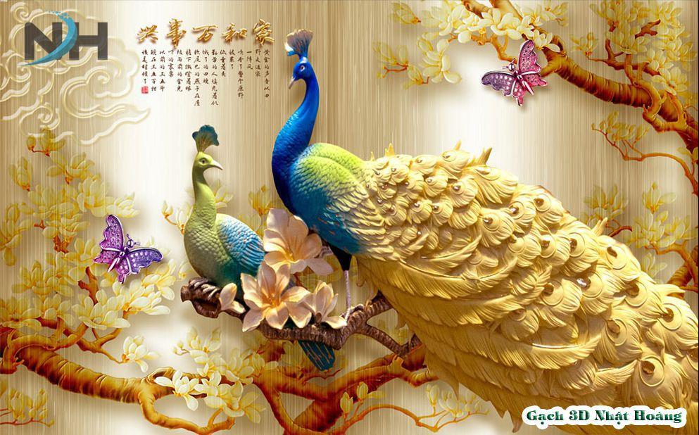 tranh gạch 5d ốp tường chim công
