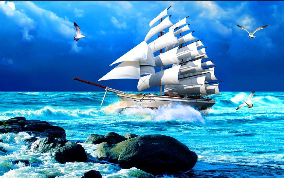 Tranh gạch 5D ốp tường mẫu thuyền biển