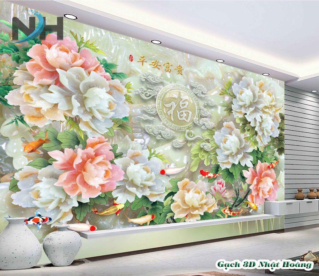 Tranh gạch đá 3D ốp tường Hoa mẫ đơn