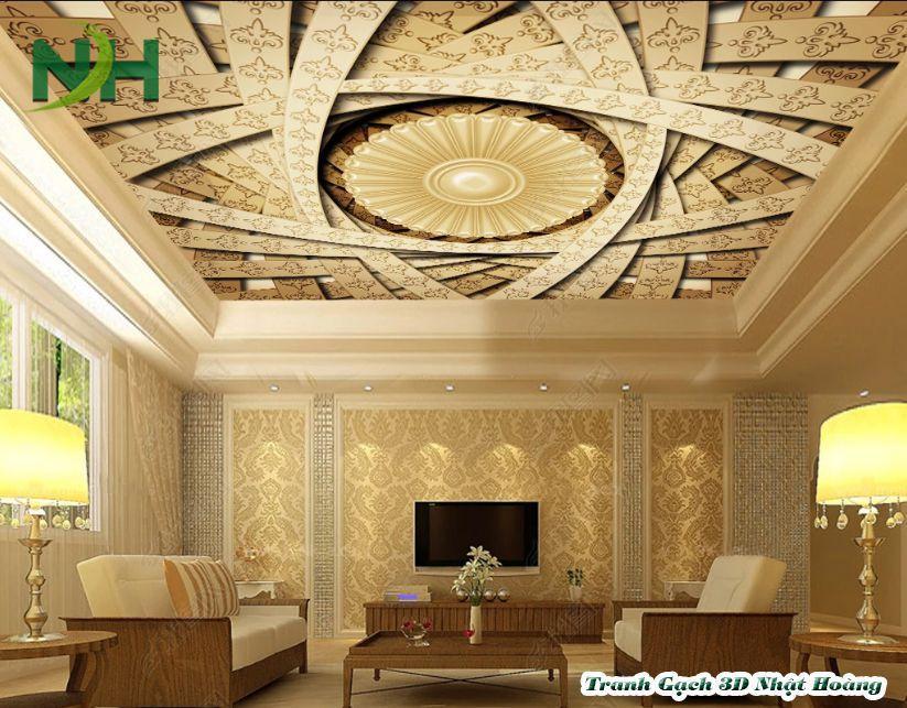 trần sáng xuyên phòng khách 3D