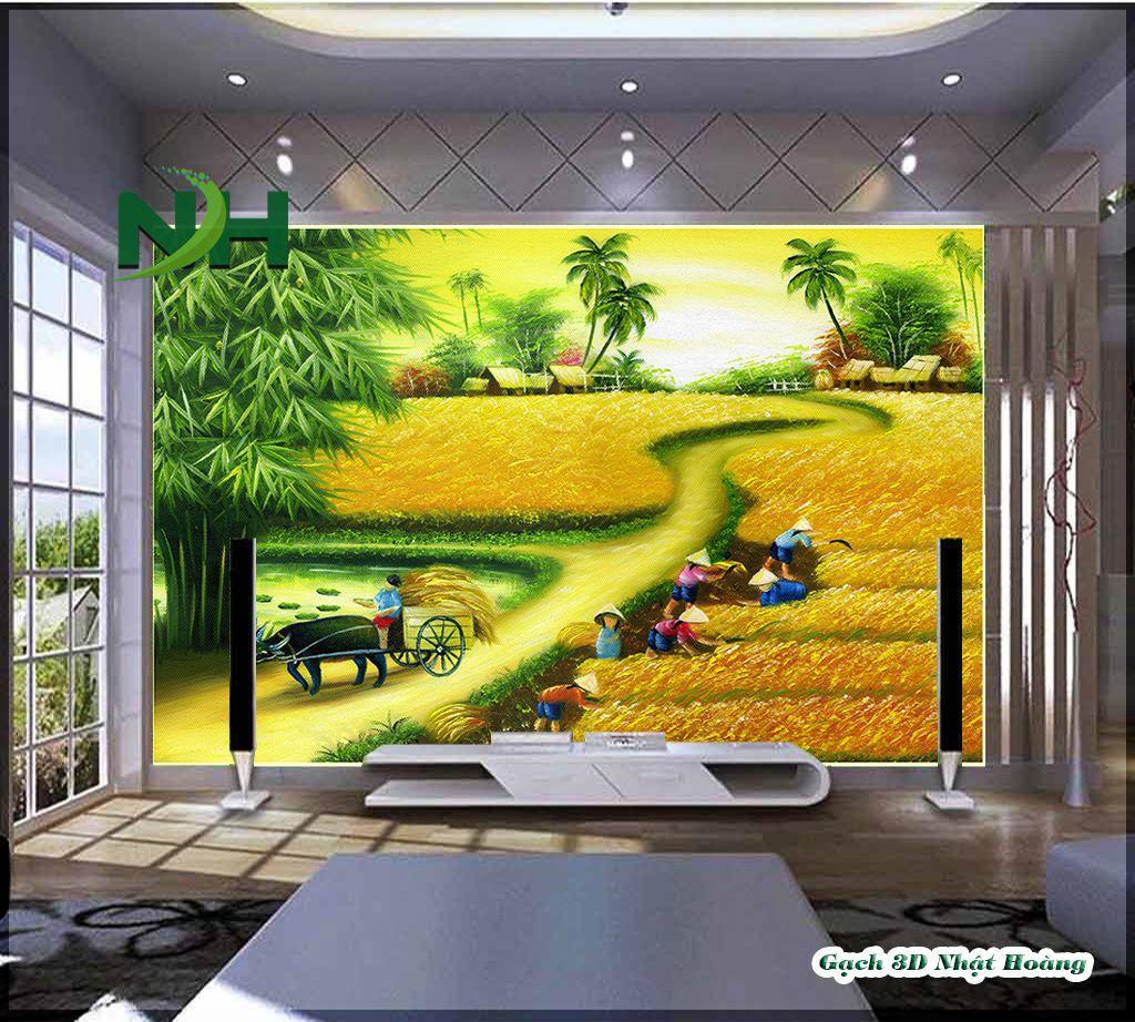 Tranh gạch làng quên cánh đồng lúa chín vàng