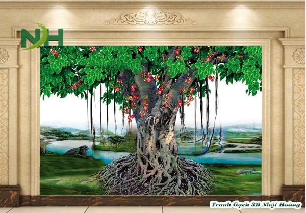 Tranh gạch 5D cây bồ đề phòng thờ