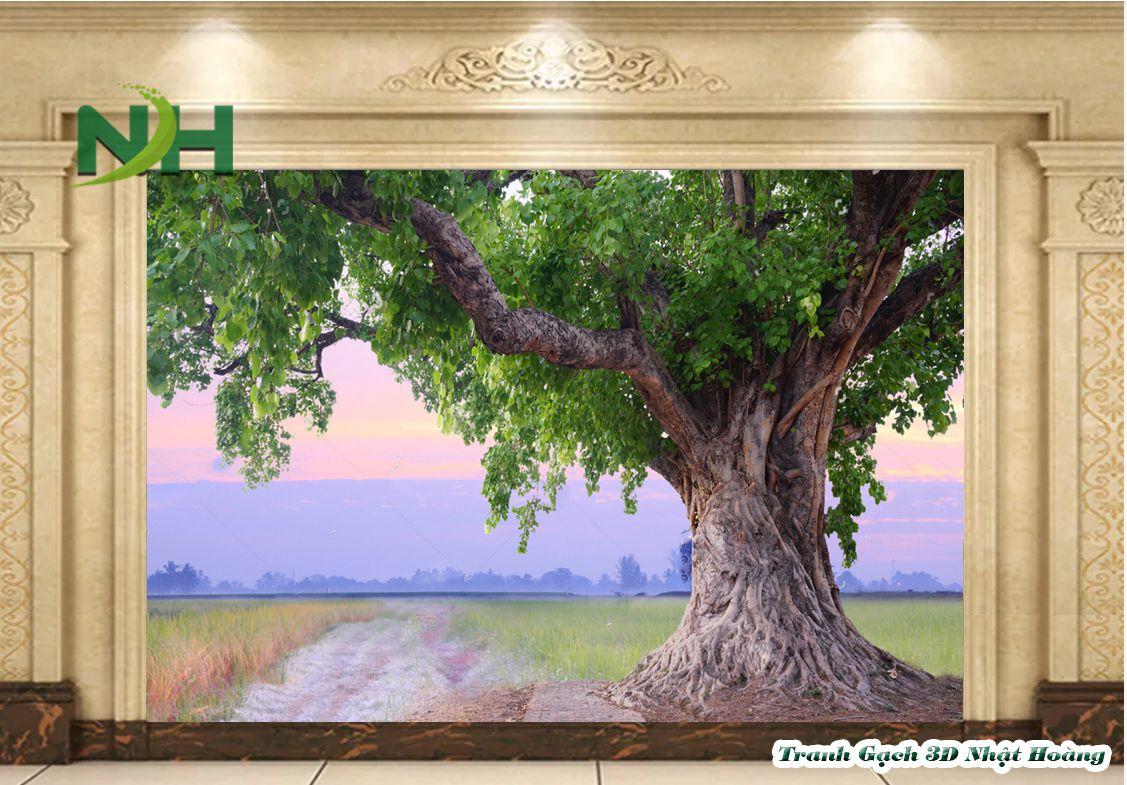 Tranh gạch dán tường phòng thờ cây Bồ Đề CBD02