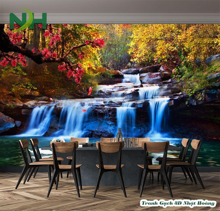 Gạch tranh 5d ốp tường phong cảnh thác nước
