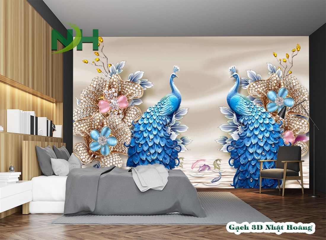 tranh gạch 3d ốp tường phòng ngủ