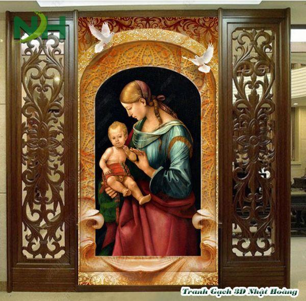 Tranh gạch 5D Mẹ Maria