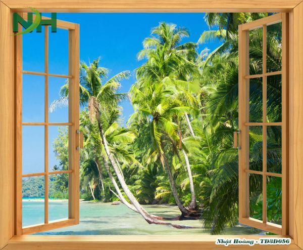 Tranh cửa sổ 3D dán tường