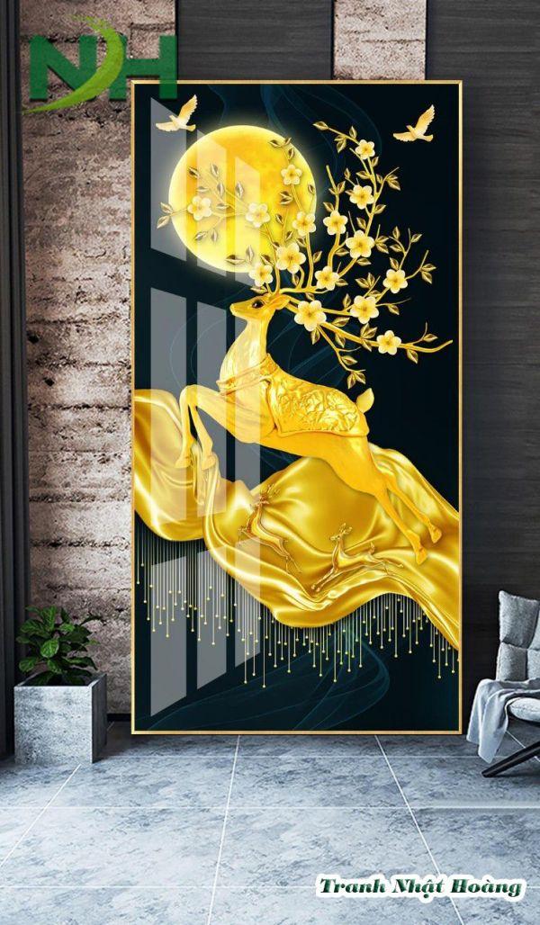 Tranh treo tường con nai vàng kim tiền