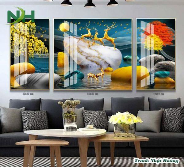 Tranh 3D treo tường con nai vàng