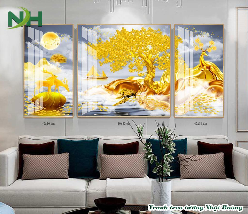 Tranh 3D Hươu nai vàng