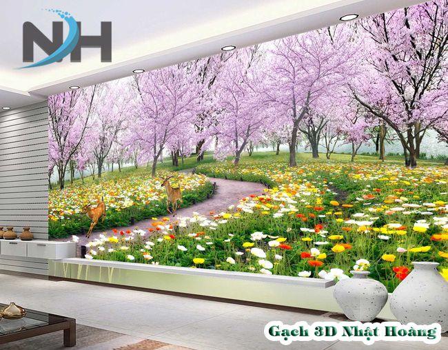 tranh 3d dán tường hoa anh đào